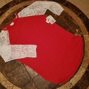 LuLaRoe M Randy Baseball Shirt Red White Lace NWT